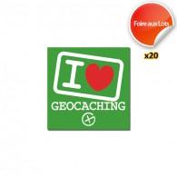Stickers I love Geocaching - Lot de 20