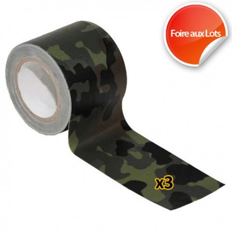 Ruban adhésif tissé - Camouflage Lot de 3