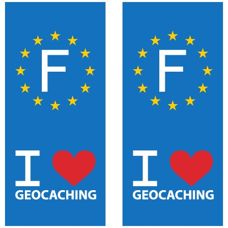 I love Geocaching - Sticker pour plaque d'immatriculation x2