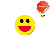 Stickers Smiley Found it Ronds - Lot de 20
