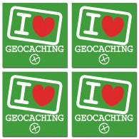 Stickers I love Geocaching - Lot de 4