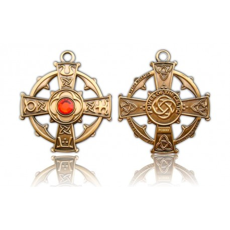 """Géocoin """"Croix Celtique Antique Gold"""" - Rouge"""