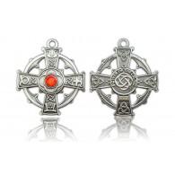 """Géocoin """"Croix Celtique Antique Silver"""" - Rouge"""