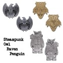 Steampunk Geocoin Set - Owl + Raven + Penguin
