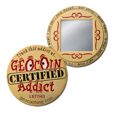 Geocoin Addict - Satin Gold