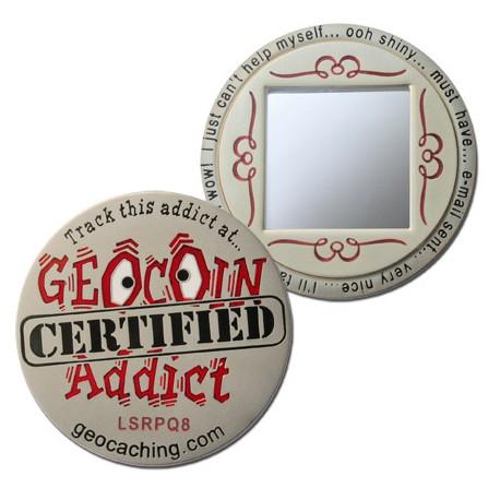 Geocoin Addict - Satin Nickel