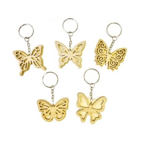 5 Porte-clés papillons en bois à décorer