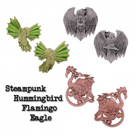 Steampunk Geocoin Set - Hummingbird + Flamingo + Eagle
