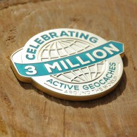 3 Million Geocaches Geocoin - Gold XL