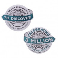 3 Million Geocaches Geocoin - Antique Silver XL