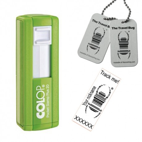 "Tampon Travel Bug® rectangulaire 38x14mm - Colop Pocket stamp ""Plus"" 20 Vert"