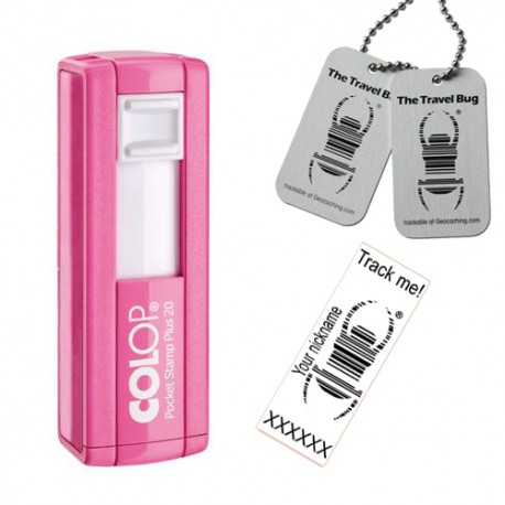 """Tampon Travel Bug® rectangulaire 38x14mm - Colop Pocket stamp """"Plus"""" 20 Rose"""