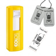 "Tampon Travel Bug® rectangulaire 38x14mm - Colop Pocket stamp ""Plus"" 20 Jaune"