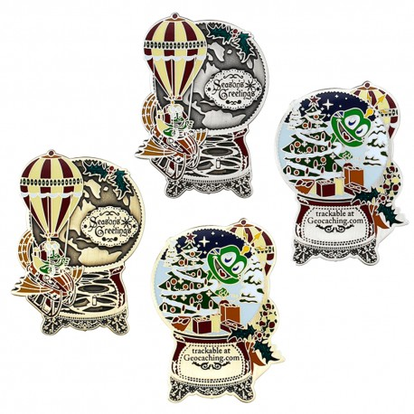 Signal the Frog® Holiday Geocoin Set - Antique Silver + Antique Bronze