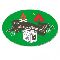 Autocollant vinyle ovale - eat. sleep. geocache.