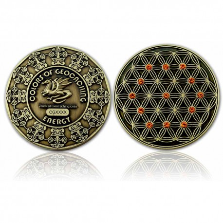 The Colors of Geocaching Geocoin - ENERGY - Antique Gold