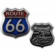 Route 66 Geocoin - Antique Silver
