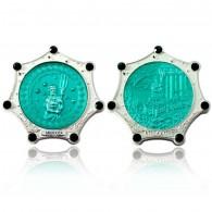 Atlantis Geocoin Foggy Silver Emerald