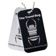BLACK Geocaching QR Travel Bug® - Glow in the Dark