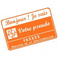 Badge Pseudo GC traçable personnalisé - ORANGE/BLANC