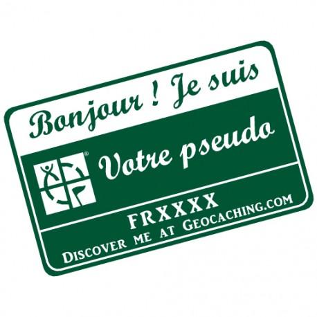 Badge Pseudo GC traçable personnalisé - VERT SAPIN/BLANC