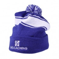 Geocaching Pom Beanie - Royal/White
