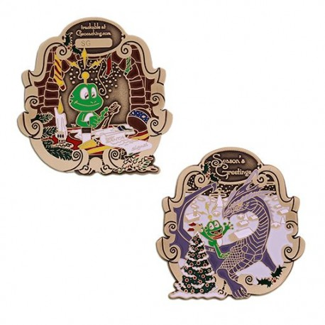 Retro 2018 Signal the Frog® Holiday Geocoin Antique Bronze - Edition Limitée