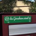 """Plaque pour Boîte aux lettres """"des Géocacheurs vivent ici"""" - Vert/Blanc"""