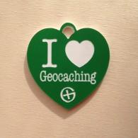 Breloque I Love Geocaching - Vert sapin