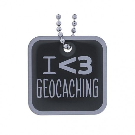 I love Geocaching Travel Tag - Black