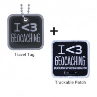 I love Geocaching Trackable Set - Tag + Patch