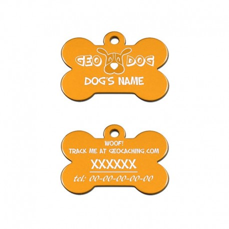 "Travel Tag - ""Woof! Track the Geodog!"" - Orangé"