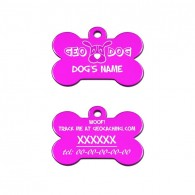 "Travel Tag - ""Woof! Track the Geodog!"" - Fushia"