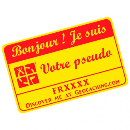 Badge Pseudo GC traçable personnalisé - JAUNE/ROUGE