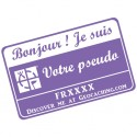 Badge Pseudo GC traçable personnalisé - VIOLET/BLANC