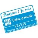 Badge Pseudo GC traçable personnalisé - BLEU CIEL/BLANC