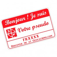 Badge Pseudo GC traçable personnalisé - BLANC/ROUGE