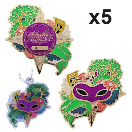 Cache Carnival Geocoin and Trackable Tag Set - Lot de 5