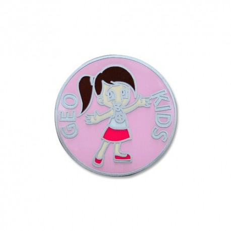 GeoKids Girl Micro Geocoin - Antique Silver