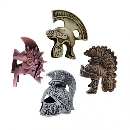 Roman Warrior Helmet 3D Geocoin Set - 4 Helmets