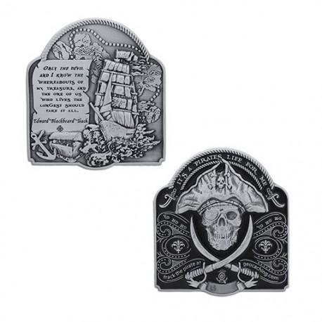 2019 Pirate Geocoin - Antique Silver
