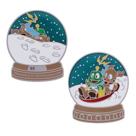 Signal the Frog® Snow Globe Geocoin Silver - Collector
