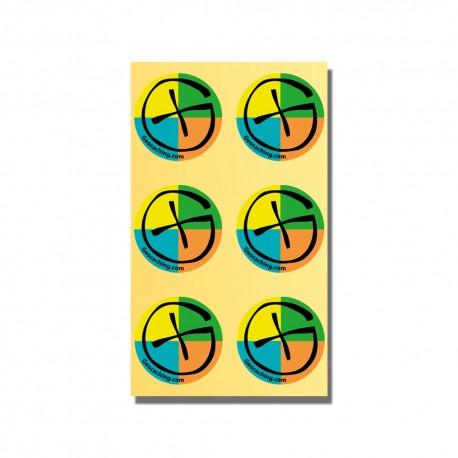 """Stickers Geocaching Ronds """"Color"""" - Planche de 6"""