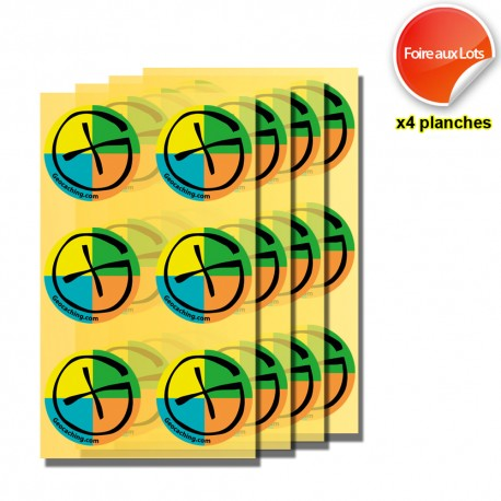"Stickers Geocaching Ronds ""Color"" - 4 planches de 6"