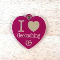 Breloque I Love Geocaching - Bourgogne Or