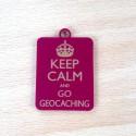 Breloque Keep Calm and Go Geocaching - Bourgogne Or