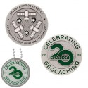 Celebrating 20 Years of Geocaching Geocoin and Trackable Tag Set - (2 Trackables)