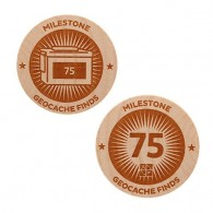 Milestone Wooden Nickel SWAG Coin - 75 Finds