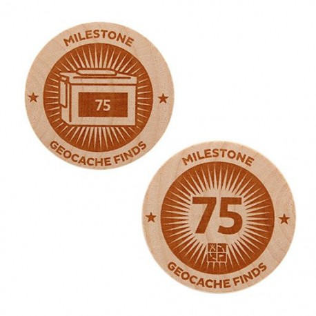 Milestone Wooden Nickel SWAG Coin - 75 Finds