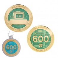 Milestone Geocoin and Tag Set - 600 Finds (2 Trackables)